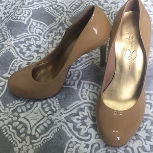 Jessica Simpson patent leather nude heels